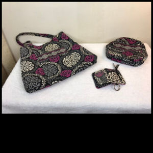 Vera Bradley 3 pc Shoulder Bag, Lunch Bag, Key Cas